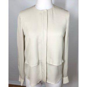 Theory Gentalla Silk Shirt Top Long Sleeve Petite